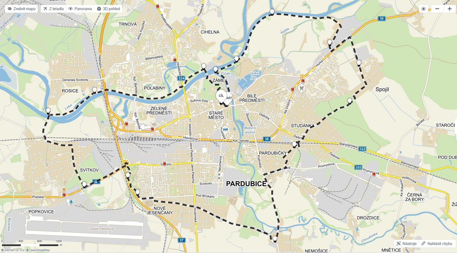 Trasa na Mapy.cz